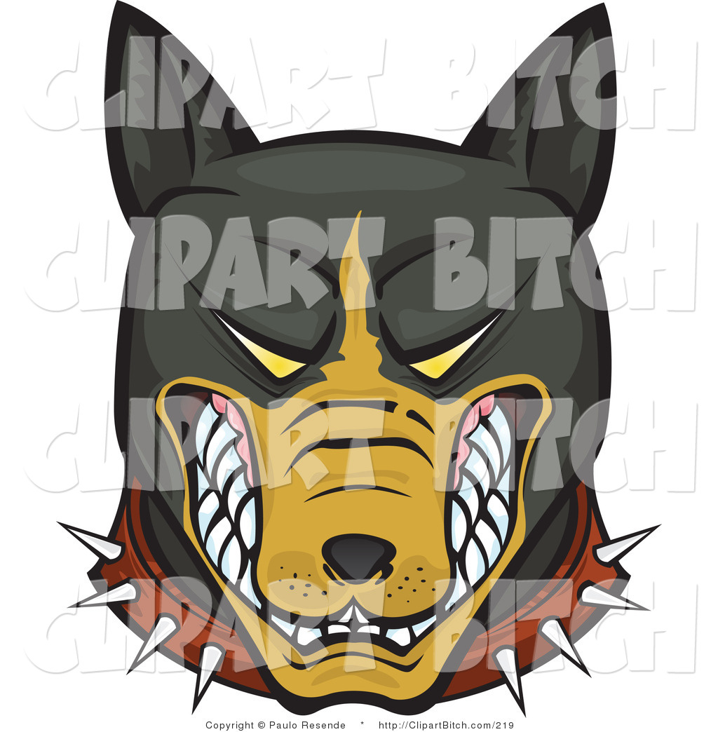 Mean Doberman Dogs Clip Vector Art of a M...