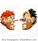Clip Art of a 3d Angry Couple Screaming at Each Other by Amy Vangsgard