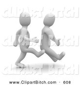 Clip Art of a 3d Blanco Man Kicking Another Man on the Butt by Jiri Moucka