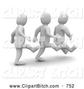Clip Art of a 3d Blanco Men Kicking Each Other in the Butt by Jiri Moucka