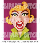 Clip Art of a 3d Furious Screaming Retro Blond Woman by Amy Vangsgard