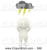 Clip Art of a 3d Teeny Person Under a Storm Cloud on White by