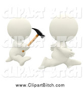 Clip Art of a 3d White Person Chasing Another with a Hammer by