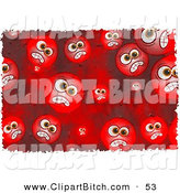 Clip Art of a Background of Round Red Grungy Mad Faces by Prawny