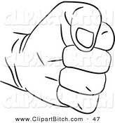 Clip Art of a Black and White Fisted Hand Outline by Prawny