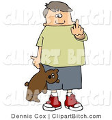 Clip Art of a Bratty Young White Boy Holding a Teddy Bear and Flipping off the Viewer by Djart