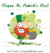 Clip Art of a Flipping Leprechaun with Gold and a Greeting by Hit Toon