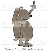Clip Art of a Frustrated Brown Dog Flipping off His Owner After Not Getting His Daily Walk by Djart