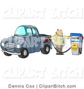 Clip Art of a Frustrated White Business Man Flipping off the Smiley Face on a Fuel Pump While Filling up the Gasoline Tank of His Blue Pickup Truck at a Gas Station by Djart