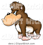 Clip Art of a Grumpy Brown Gorilla with a Bad Attitude, Looking Left by Dero