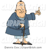 Clip Art of a Grumpy Old White Man Leaning on a Cane and Flipping Someone the Bird by Djart