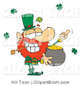 Clip Art of a Leprechaun Guarding His Gold and Flipping the Bird by Hit Toon