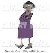 Clip Art of a Mad African American Woman in a Purple Dress and Heels, Standing with Her Arms Crossed and Tapping Her Foot with a Stern Expression on Her Face by Djart