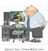 Clip Art of a Mad Businessman Pointing a Gun at His Computer Tower by Djart