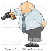 Clip Art of a Mad Businessman Pointing a Loaded Gun at Someone by Djart