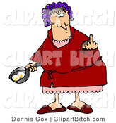 Clip Art of a Mad Female Caucasian, a Wife, with Her Hair up in Curlers, Holding a Frying Pan with Two Eggs in It and Flipping off Her Husband by Djart
