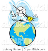 Clip Art of a Mad Guy Sweeping Earth by Johnny Sajem