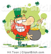 Clip Art of a Mad Leprechaun Holding His Gold and Flipping off by Hit Toon