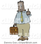 Clip Art of a Mad Male Hispanic or Black Business Person Carrying a Briefcase and Flipping Someone off for Being Rude by Djart