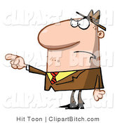 Clip Art of a Mad Man Pointing by Hit Toon