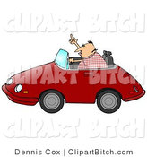 Clip Art of a Mad Middle Aged Caucasian Man with Road Rage, Driving a Red Convertible Car and Flipping Someone off by Djart
