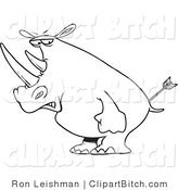 Clip Art of a Mad Outlined Rhino by Toonaday