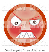 Clip Art of a Mad Red Faced Smiley Clenching Its Sharp Teeth by AtStockIllustration