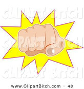 Clip Art of a Mad White Man's Hand Punching Outward on a Yellow Starburst by Prawny