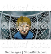 Clip Art of a Miserable Lonely Little Boy by a Chainlink Fence on a Playground on a Stormy Day by AtStockIllustration