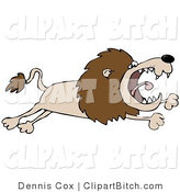 Clip Art of a Pissed Lion Leaping Right by Djart