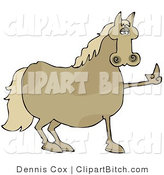 Clip Art of a Pissed off Brown Horse Flipping off a Farmer After Not Being Fed His Oats by Djart