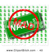 Clip Art of a Red MAD Sign over a Wall Street Sign over Dollar Symbols by Oboy