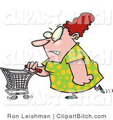 Clip Art of a Stressed out Wife Pushing a Shopping Cart by Toonaday