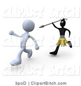 Clip Art of an African Native Running with a Spear and Trying to Kill a White Person by 3poD