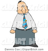 Clip Art of an Angry Businessman Giving a Dirty Look with His Face While Clenching Both Fists by Djart