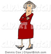 Clip Art of an Angry Caucasian Female in a Red Dress and Heels, Standing with Her Arms Crossed and Tapping Her Foot with a Stern Expression on Her Face by Djart