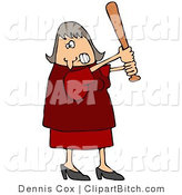 Clip Art of an Angry Caucasian Female in a Red Dress and Heels, Swinging a Wooden Baseball Bat After Someone Really Ticked Her off by Djart