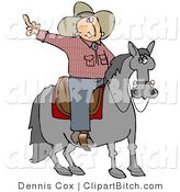 Clip Art of an Angry Cowboy Sitting on a Saddle on a Horse, Flipping off Someone Behind Him by Djart