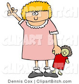 Clip Art of an Angry Little Blond Girl Holding Her Doll and Flipping the Bird After Not Getting Her Way by Djart