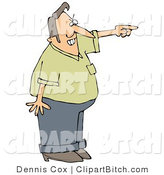 Clip Art of an Angry Man Pointing and Shouting and Asking a Tresspasser to Leave His Private Property by Djart
