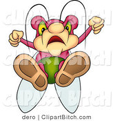 Clip Art of an Angry Pink Beetle with Green Eyes, Flying down with His Feet First by Dero