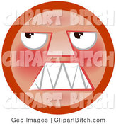 Clip Art of an Angry Red Smiley Face Looking Upwards and Grinding Its Teeth by AtStockIllustration