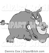 Clip Art of an Angry Rhino Charging by Djart