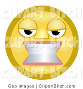 Clip Art of an Angry Yellow Smiley Face Woman Gritting Her Teeth in Anger by AtStockIllustration