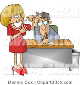 Clip Art of an Annoyed Businessman with a Dumb Blond Secretary Counting Her Fingers by Djart