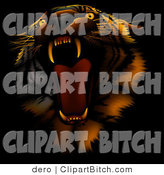 Clip Art of an Ill Tempered Tiger Roaring, on a Dark Background with Red Lighting by Dero