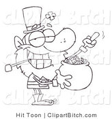 Clip Art of an Outlined Leprechaun Guarding His Gold by Hit Toon