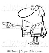 Clip Art of an Outlined Pointing Woman by Hit Toon
