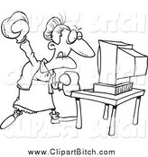 Clip Cartoon Art of a Black and White Mad Granny Beating a Computer with Boxing Gloves by Toonaday
