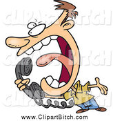 Clip Cartoon Art of a Mad Caucasian Man Screaming into a Telephone by Toonaday